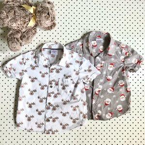 Boys Size 2 CHRISTMAS Shirts, 100% cotton, short sleeves, Santa Claus and Rudolf